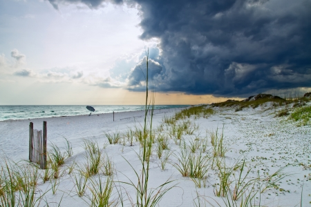 destin: A beach shot of a powerful storm rolling in.