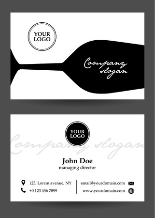 tittle: vector black and white business card with glass Illustration