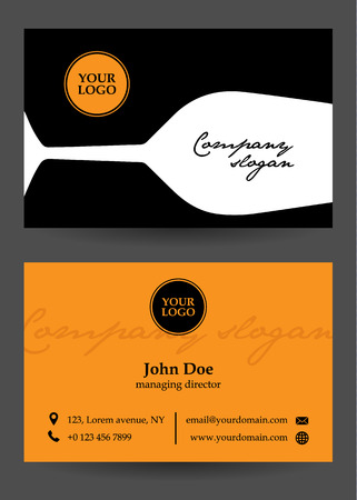 tittle: vector orange, black and white business card with glass