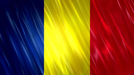 Chad Flag with fabric material.