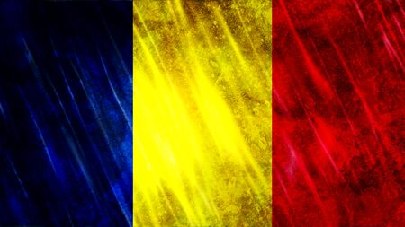 Chad Flag with grunge texture.