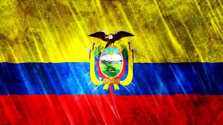 Ecuador Flag with grunge texture.