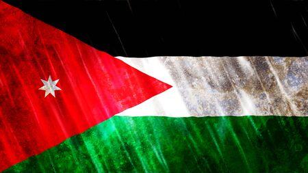Jordan Flag with grunge texture. Stock Photo