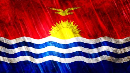 Kiribati Flag with grunge texture. Stock Photo