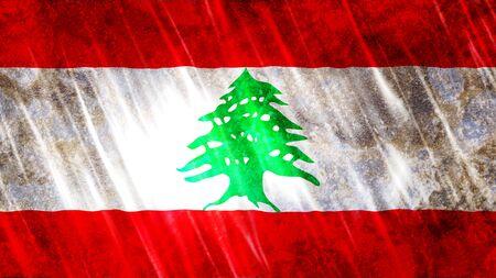Lebanon Flag with grunge texture.