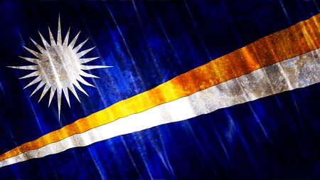 Marshall Islands Flag with grunge texture. 写真素材