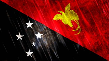 Papua New Guinea Flag with grunge texture. Stock Photo