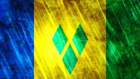 Saint Vincent and the Grenadines Flag with grunge texture. Zdjęcie Seryjne