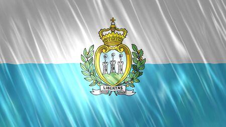 San Marino Flag with fabric material. Zdjęcie Seryjne