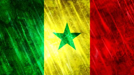 Senegal Flag with grunge texture.