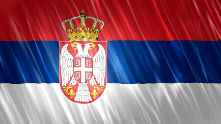 Serbia Flag with fabric material. Zdjęcie Seryjne