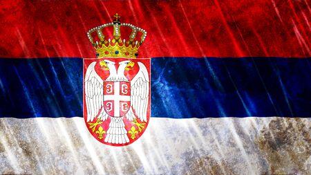 Serbia Flag with grunge texture. Zdjęcie Seryjne