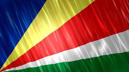Seychelles Flag with fabric material. Zdjęcie Seryjne