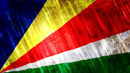 Seychelles Flag with grunge texture.