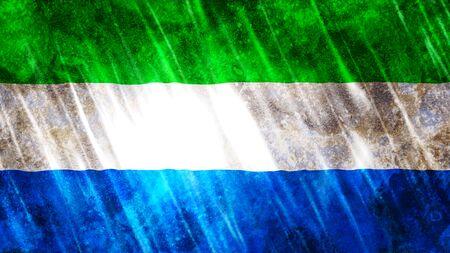 Sierra Leone Flag with grunge texture.