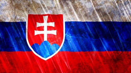 Slovakia Flag with grunge texture. Zdjęcie Seryjne