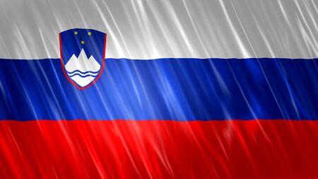 Slovenia Flag with fabric material. Zdjęcie Seryjne