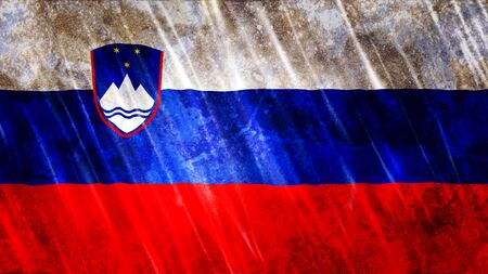 Slovenia Flag with grunge texture.