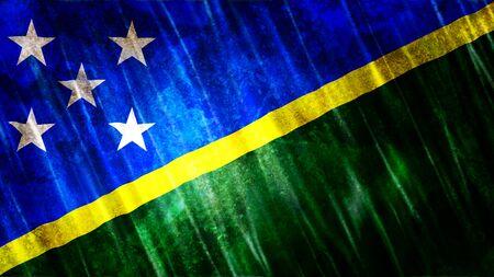 Solomon Islands Flag with grunge texture.