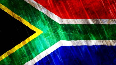 South Africa Flag with grunge texture.