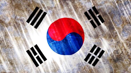 South Korea Flag with grunge texture. Zdjęcie Seryjne