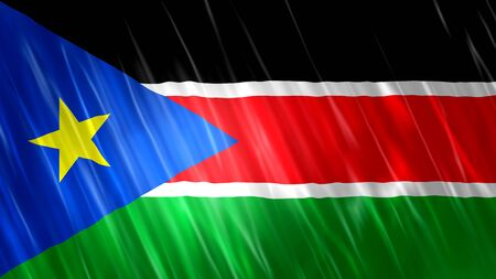 South Sudan Flag with fabric material.