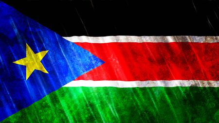 South Sudan Flag with grunge texture.