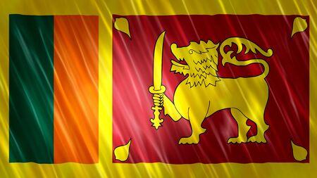 Sri Lanka Flag with fabric material.