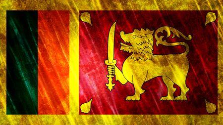 Sri Lanka Flag with grunge texture. Zdjęcie Seryjne