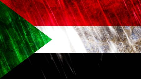 Sudan Flag with grunge texture.