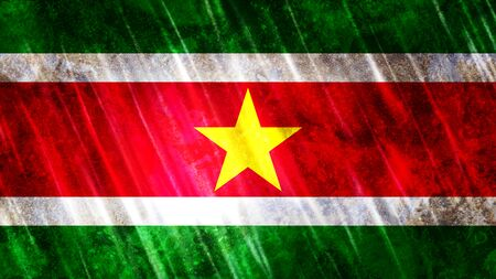 Suriname Flag with grunge texture.