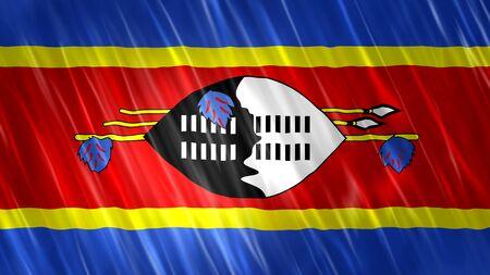 Swaziland Flag with fabric material. Zdjęcie Seryjne