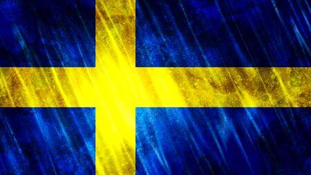 Sweden Flag with grunge texture. Zdjęcie Seryjne