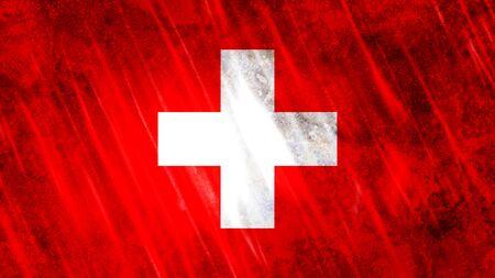 Switzerland Flag with grunge texture.