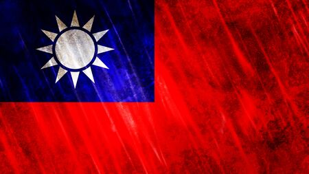 Taiwan Flag with grunge texture.