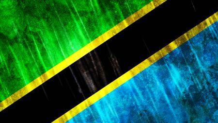 Tanzania Flag with grunge texture. Zdjęcie Seryjne
