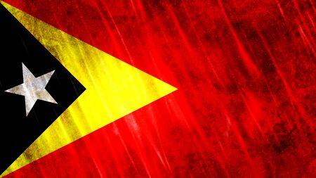 Timor-Leste (East Timor) Flag with grunge texture.
