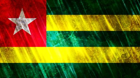Togo Flag with grunge texture.