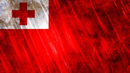 Tonga Flag with grunge texture. Zdjęcie Seryjne