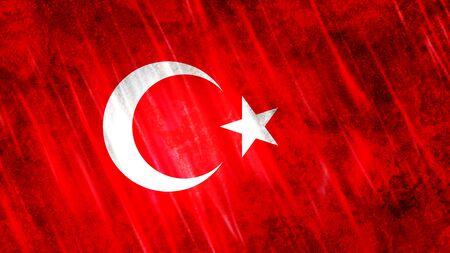 Turkey Flag with grunge texture. Zdjęcie Seryjne