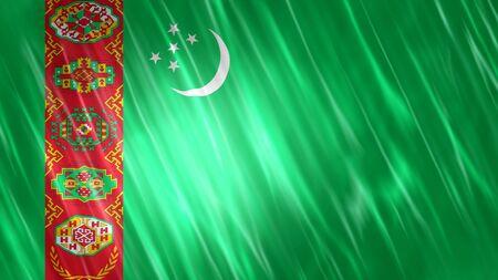 Turkmenistan Flag with fabric material. Zdjęcie Seryjne