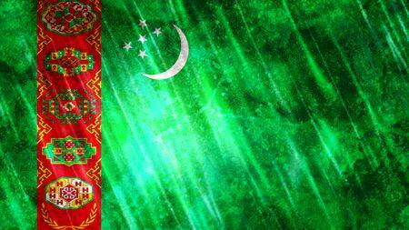 Turkmenistan Flag with grunge texture.