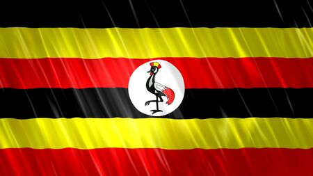 Uganda Flag with fabric material. Zdjęcie Seryjne