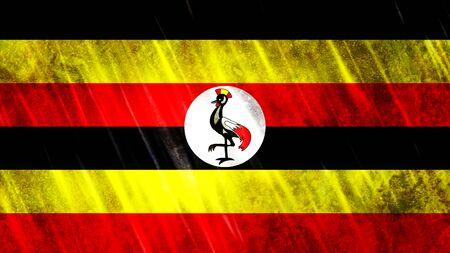 Uganda Flag with grunge texture.
