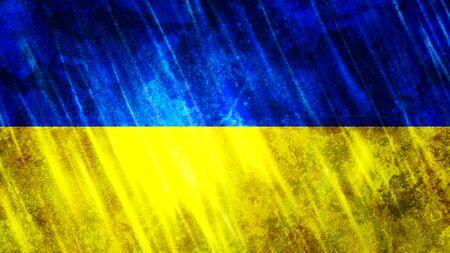 Ukraine Flag with grunge texture.