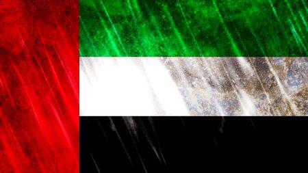 United Arab Emirates (UAE) Flag with grunge texture.