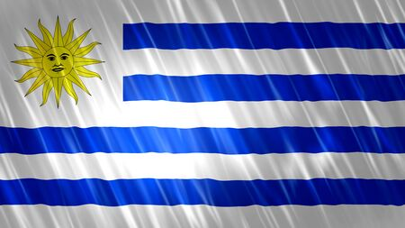 Uruguay Flag with fabric material. Zdjęcie Seryjne