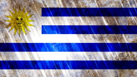 Uruguay Flag with grunge texture.