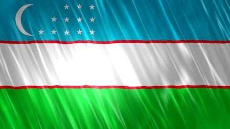 Uzbekistan Flag with fabric material.