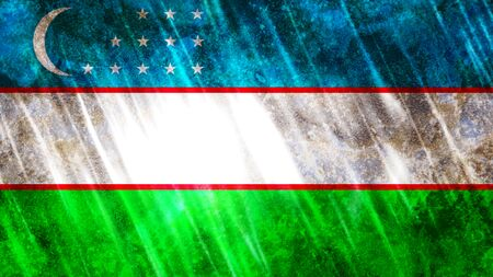 Uzbekistan Flag with grunge texture.
